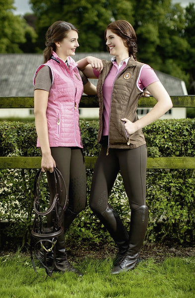 HKM Lauria Garrelli Queens Riding Gilet in Pink and Brown worn by Riders 8287