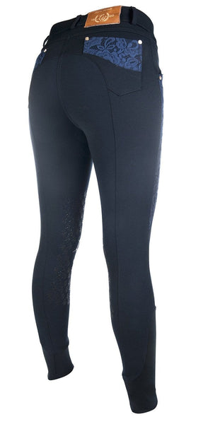HKM Lauria Garrelli Queens Crystal Silicone Knee Patch Breeches - EQUUS