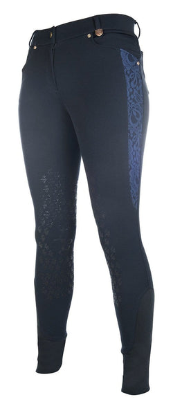 HKM Lauria Garrelli Queens Crystal Silicone Knee Patch Breeches - 24 (6) / Navy | EQUUS