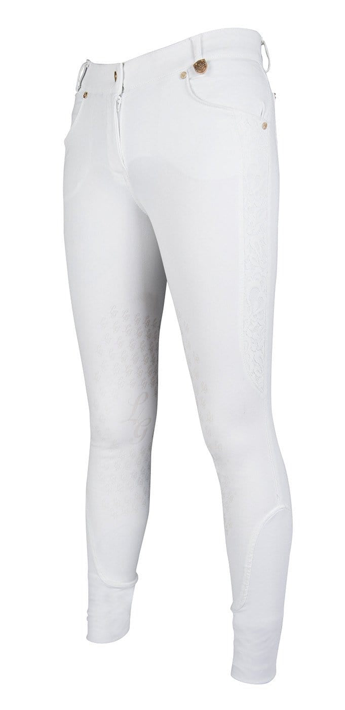 HKM Lauria Garrelli Queens Crystal Silicone Knee Patch Breeches - 24 (6) / White | EQUUS