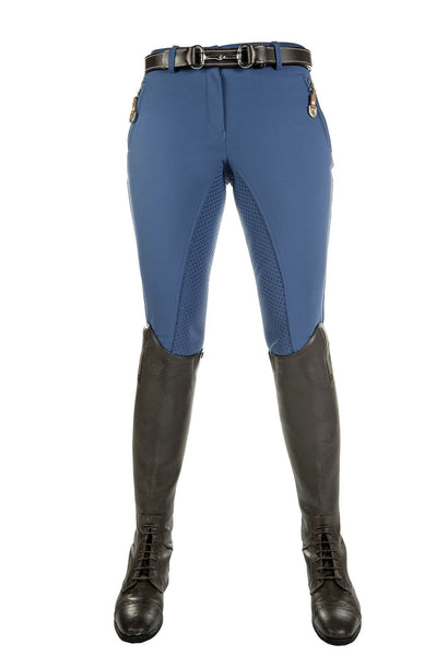 HKM Lauria Garrelli Roma Silicone Full Seat Breeches Middle Blue Front