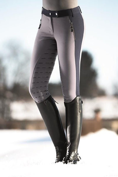 HKM Lauria Garrelli Scotland Silicone Full Seat Breeches in Grey worn by Rider Front 8715
