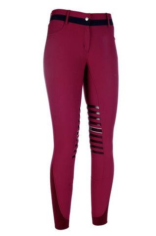 HKM Lauria Garrelli Scotland Silicone Knee Patch Breeches in Wine Red Front 9376