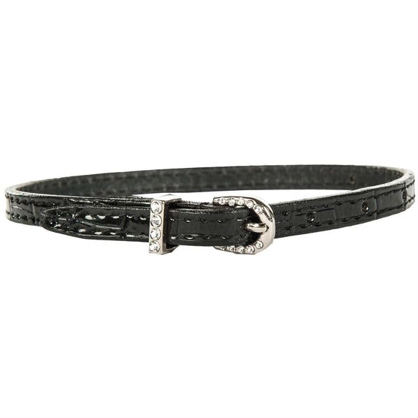 HKM Croco Leather Spur Strap With Crystal Closure