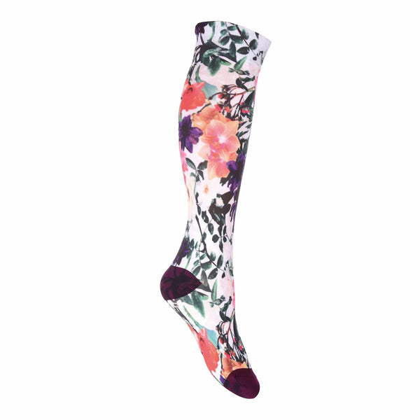 HKM Nylon Print Riding Socks in Flower Print 9184