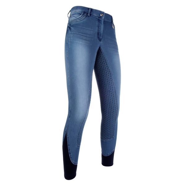 HKM Cavallino Marino Piemont Silicone Full Seat Riding Jeggings Jeans Blue Studio Front View 10061/6100