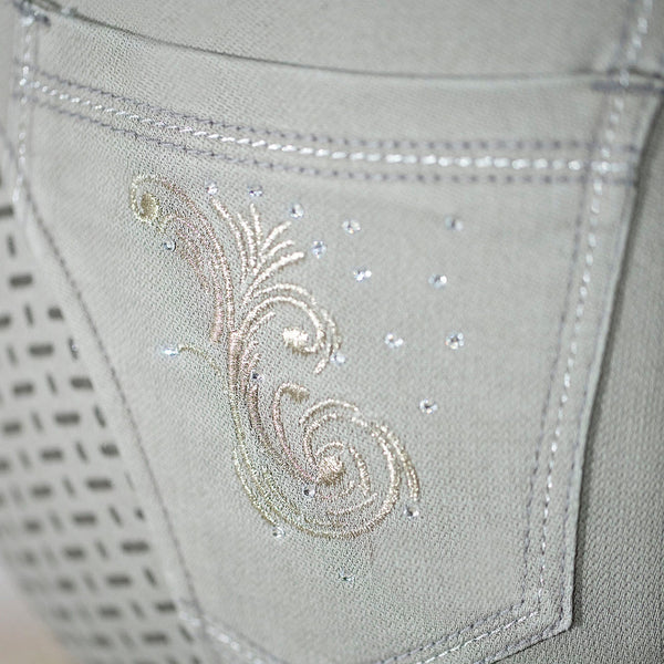 HKM Cavallino Marino Piemont Silicone Full Seat Riding Jeggings Light Grey Rear Pocket Close Up 10061/9200