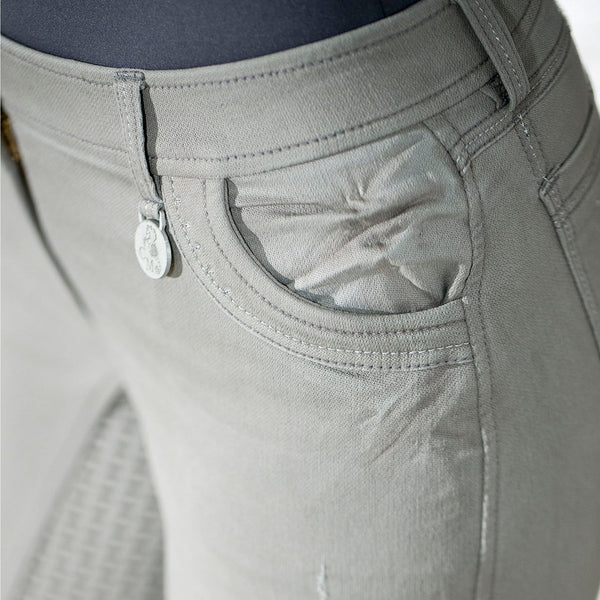 HKM Cavallino Marino Piemont Silicone Full Seat Riding Jeggings Light Grey Front Pocket Close Up 10061/9200