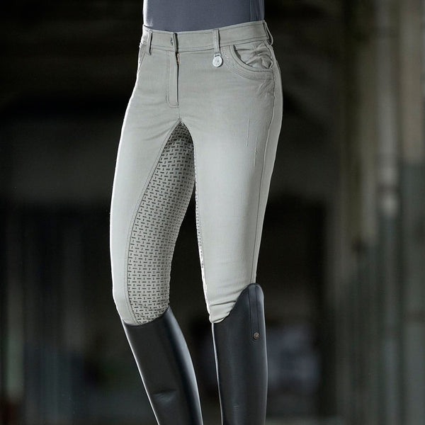 HKM Cavallino Marino Piemont Silicone Full Seat Riding Jeggings Light Grey Lifestyle Front View 10061/9200