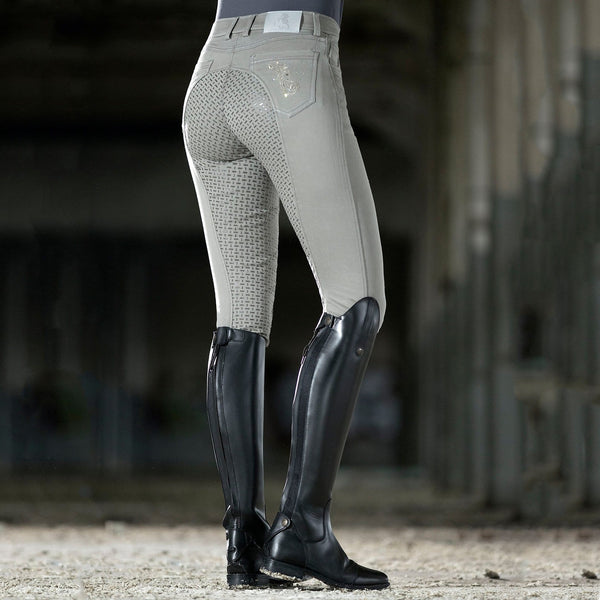 HKM Cavallino Marino Piemont Silicone Full Seat Riding Jeggings Light Grey Lifestyle Rear View 10061/9200