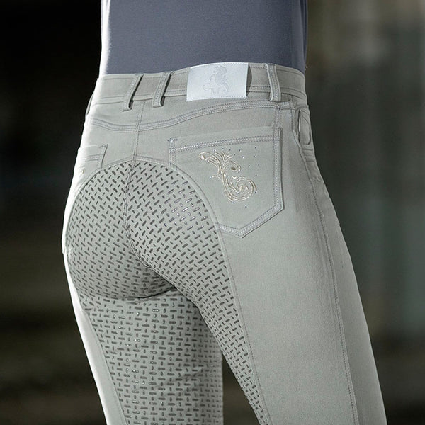 HKM Cavallino Marino Piemont Silicone Full Seat Riding Jeggings Light Grey Rear Close Up 10061/9200