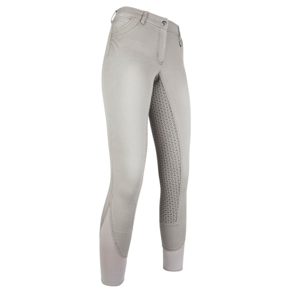 HKM Cavallino Marino Piemont Silicone Full Seat Riding Jeggings Light Grey Studio Front View 10061/9200