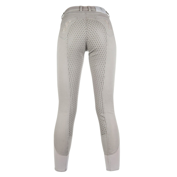 HKM Cavallino Marino Piemont Silicone Full Seat Riding Jeggings Light Grey Rear View Studio 10061/9200