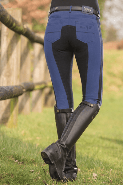 HKM Pro Team Boston 3/4 Alos Seat Breeches in Royal Blue