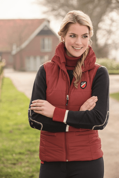 HKM Pro Team Boston Riding Vest in Dark Red
