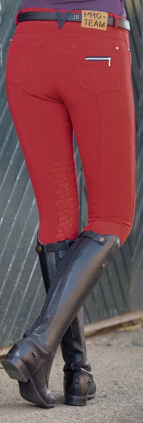 HKM Pro Team Boston Softshell Silicone Breech in Red Rear