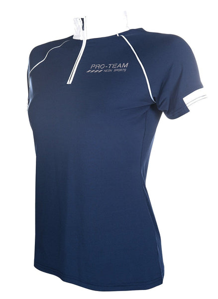 HKM Pro Team Neon Sports Competition Shirt - XS (8) / Blue | EQUUS