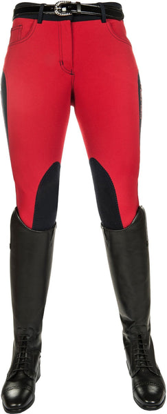 HKM Pro Team Dynamic Children's Contrast Knee Patch Breeches - 6-7 / Dark Red | EQUUS