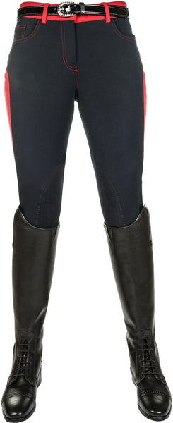 HKM Pro Team Dynamic Children's Contrast Knee Patch Breeches - 6-7 / Deep Blue | EQUUS