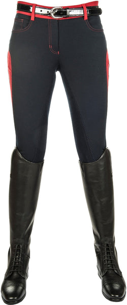 HKM Pro Team Dynamic Contrast Children's Three Quarter Seat Breeches in Deep Blue