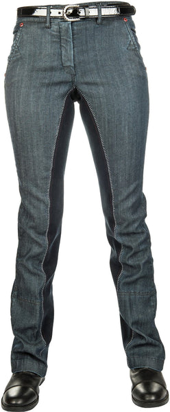 HKM Pro Team Dynamic Full Seat Denim Jodhpurs Front View