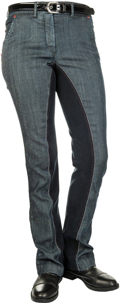 HKM Pro Team Dynamic Full Seat Denim Jodhpurs Side View