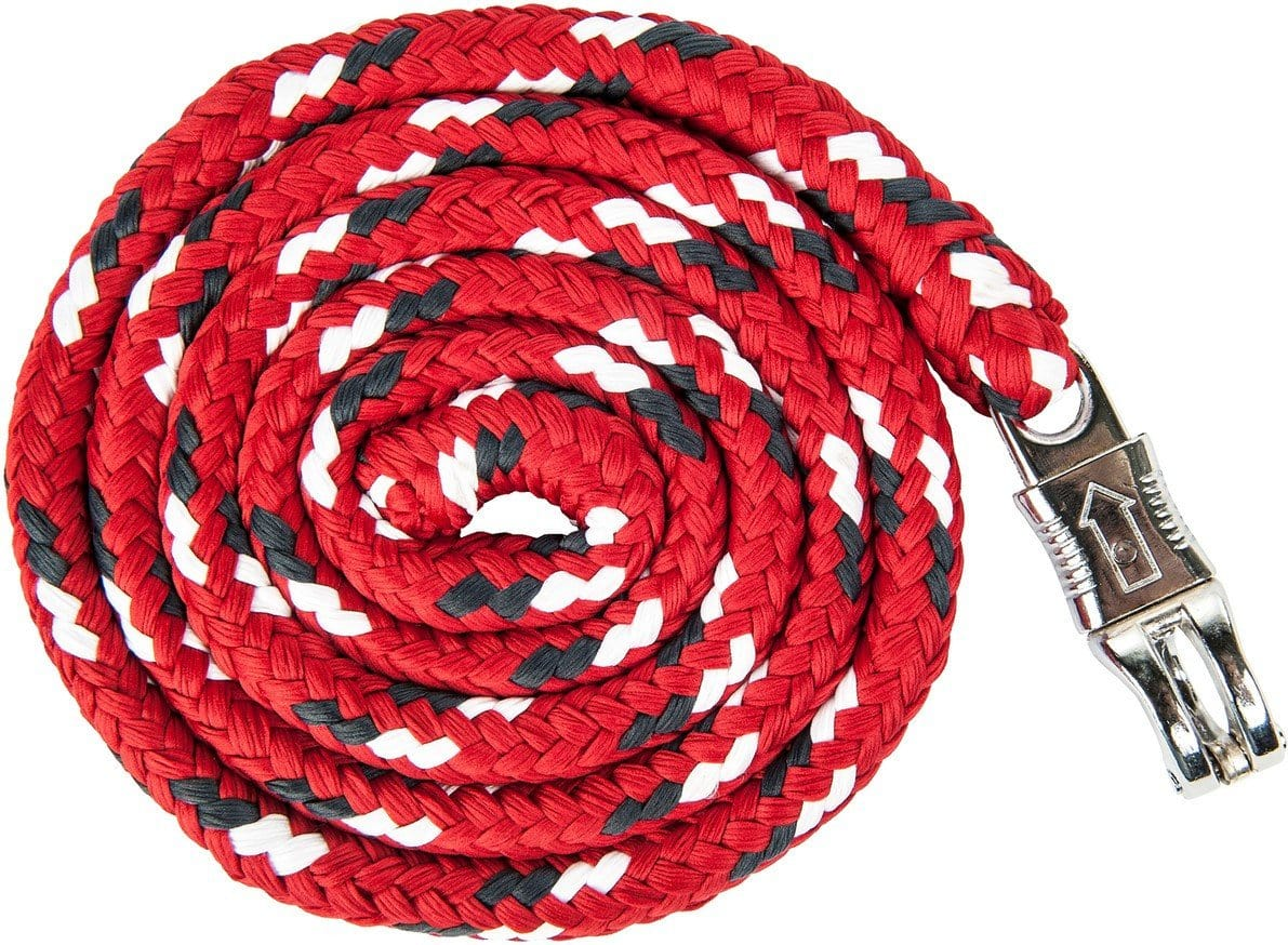 HKM Pro Team Dynamic Lead Rope with Panic Hook in Dark Red
