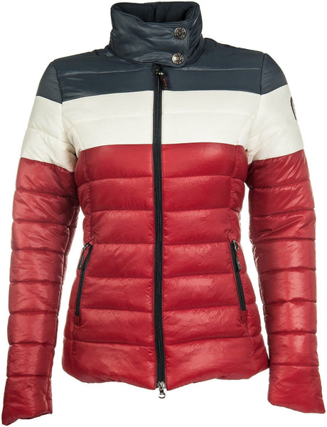 HKM Pro Team Dynamic Quilted Three Colours Children's Riding Jacket - 128 / Deep Red | EQUUS