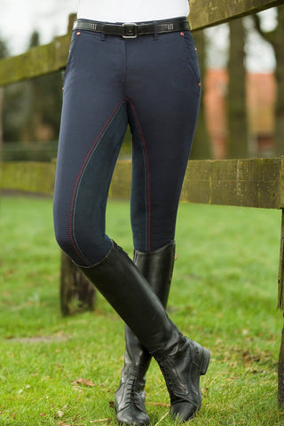 HKM Pro Team Dynamic Three Quarter Seat Breeches Front View