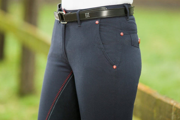 HKM Pro Team Dynamic Three Quarter Seat Breeches Side Inset