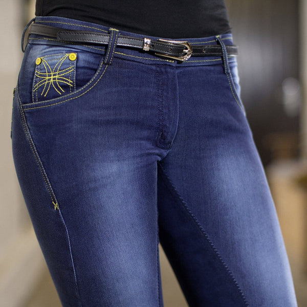 HKM Pro Team Flash Jeggings Breeches worn by Rider Front Inset