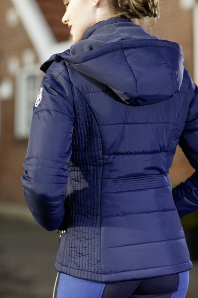 HKM Pro Team Flash Quilted Jacket worn by Rider Rear View