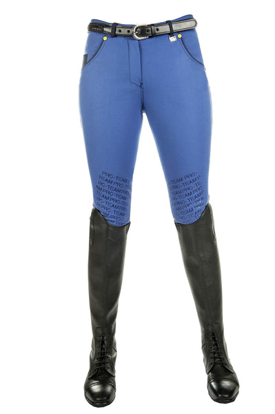 HKM Pro Team Flash Silicone Knee Patch Breeches in Corn Blue Front View