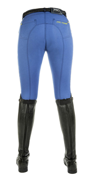 HKM Pro Team Flash Silicone Knee Patch Breeches in Corn Blue Rear View