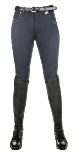 HKM Pro Team Flash Silicone Knee Patch Breeches in Deep Blue Front View
