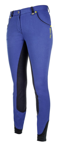 HKM Pro Team Flash Silicone Riding Breeches in Corn Blue Front Side View