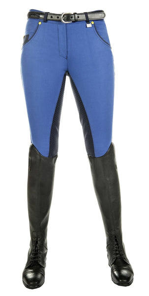 HKM Pro Team Flash Silicone Riding Breeches in Corn Blue Front View