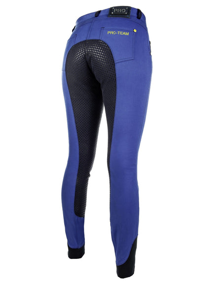 HKM Pro Team Flash Silicone Riding Breeches in Corn Blue Rear Side View