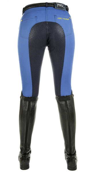 HKM Pro Team Flash Silicone Riding Breeches in Corn Blue Rear View