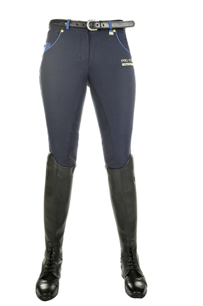 HKM Pro Team Flash Silicone Riding Breeches in Deep Blue Front View