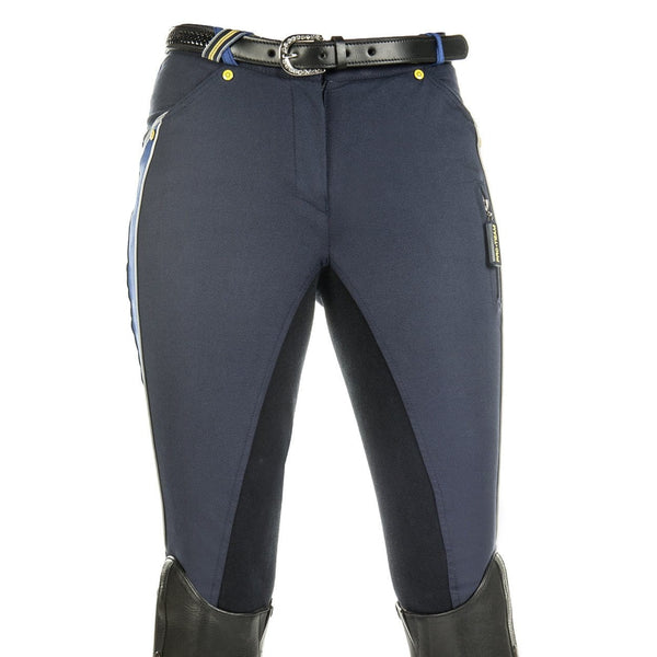 HKM Pro Team Flash Three Quarter Alos Seat Breeches in Deep Blue Front View