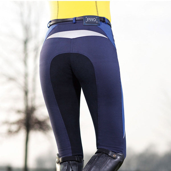 HKM Pro Team Flash Three Quarter Alos Seat Breeches in Corn Blue Rear View worn by Rider
