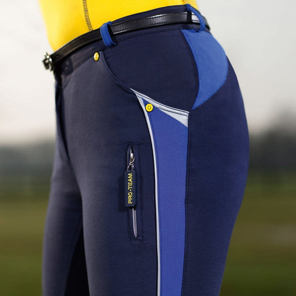 HKM Pro Team Flash Three Quarter Alos Seat Breeches in Deep Blue Side View