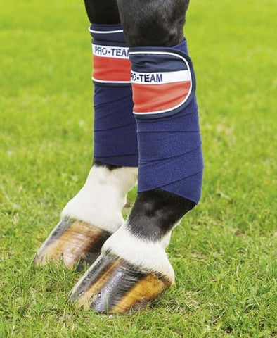 HKM Pro Team Helsinki Polar Fleece Bandages - Navy White Red / 200cm | EQUUS