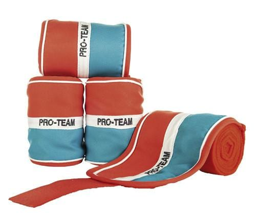 HKM Pro Team Helsinki Polar Fleece Bandages - Red White Aqua / 200cm | EQUUS