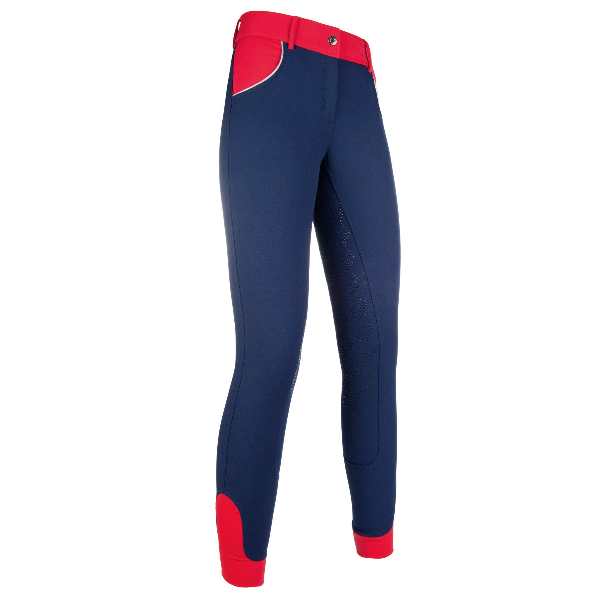 HKM Pro Team Hickstead 3/4 Silicone Seat Riding Breeches Deep Blue and Red Studio Front View 10160/6932