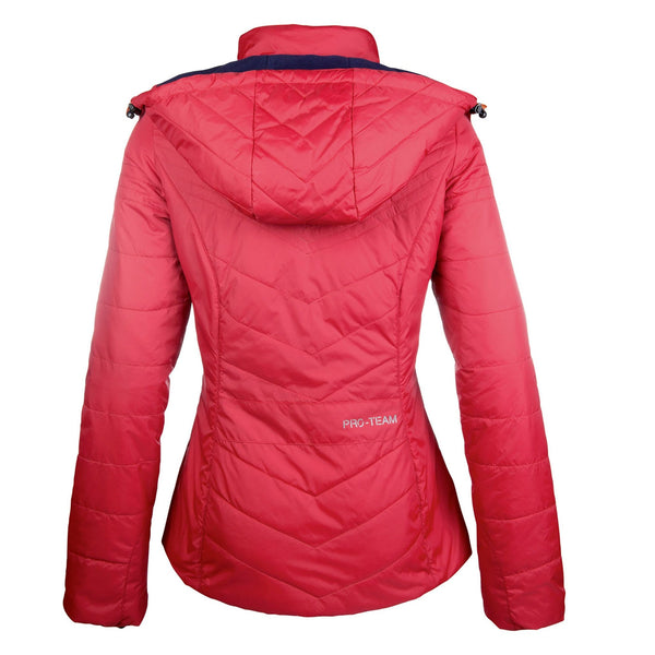 HKM Pro Team Hickstead Quilted Jacket Red Studio Rear View 10162/3200