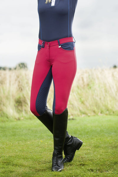 HKM Pro Team International Silicone Knee Patch Breeches Front View
