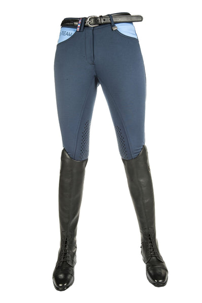 HKM Pro Team International Silicone Knee Patch Breeches in Deep Blue