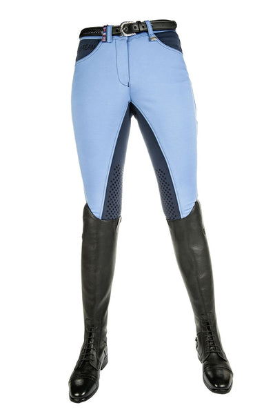 HKM Pro Team International Silicone Knee Patch Breeches in Middle Blue